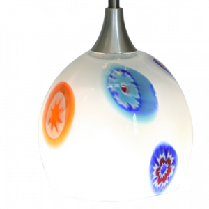 Hand Blown Glass LED Hanging Light White Multi-Color