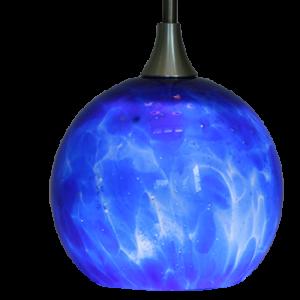 Hand Blown Glass LED Hanging Light Cobalt Blue