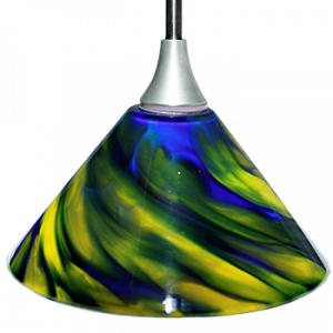 Hand Blown Glass LED Hanging Light Green / Blue Swirl