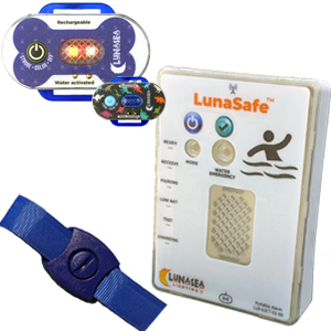 LunaSafe Water Safety Device Blue w/ Transmitter & Alarm